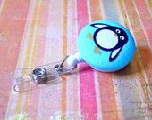 Fabric Retractable Badge Holder - Penguin