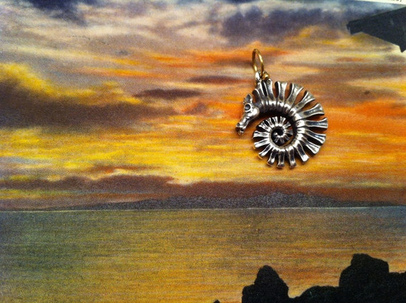 medium spiral dragon  silver 18k  - pendant only