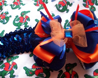 Glitzy Gator University of Florida Colors Stretchy  Headband