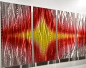 art painting sculpture modern silver METAL abstract wall decor Star Sound red yellow contemporary style hand made Original by Lubo Naydenov