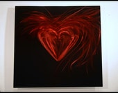 """abstract red modern heart sculpture metal awl decor contemporary painting 24""""x24"""" by Luboart"""