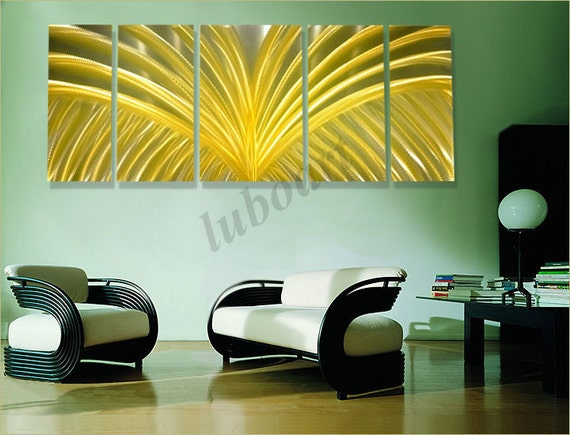 abstract METAL art home yellow office gold painting contemporary modern golden wings wall decor original sculpture hand made - Lubo Naydenov