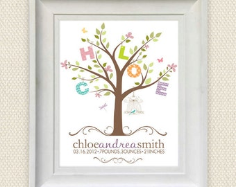 personalized birth announcement print . nursery art print - my little tree