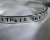 Everybody has their own journey, hand stamped silver bracelet