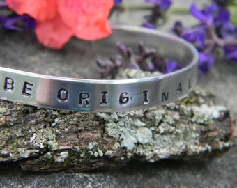 Be Original, funky hand stamped silver bangle