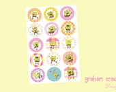 Pink and Yellow Spongebob Squarepants Inspired Bottle Cap Images