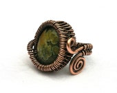 Adjustable Ring, Rainforest Jasper and Copper Wire Wrapped