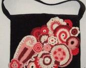 "EZorange ""Berry Sorbet Night"" Freeform crochet decorated handbag - Original design - OOAK"