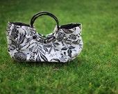 EZorange Black-White Floral Cotton Handbag, round bamboo handles - FREE SHIPPING