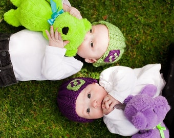 Sale - BABY TWINS set - purple and green crochet hats - size 3-9 months