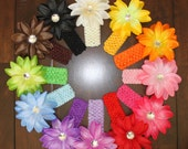 24 Pc Set Beautiful Crystal Lily Flower and Crochet Headband You Pick Colors 12 Flower Styles 21 Headband Colors Less Than 1.00 Each