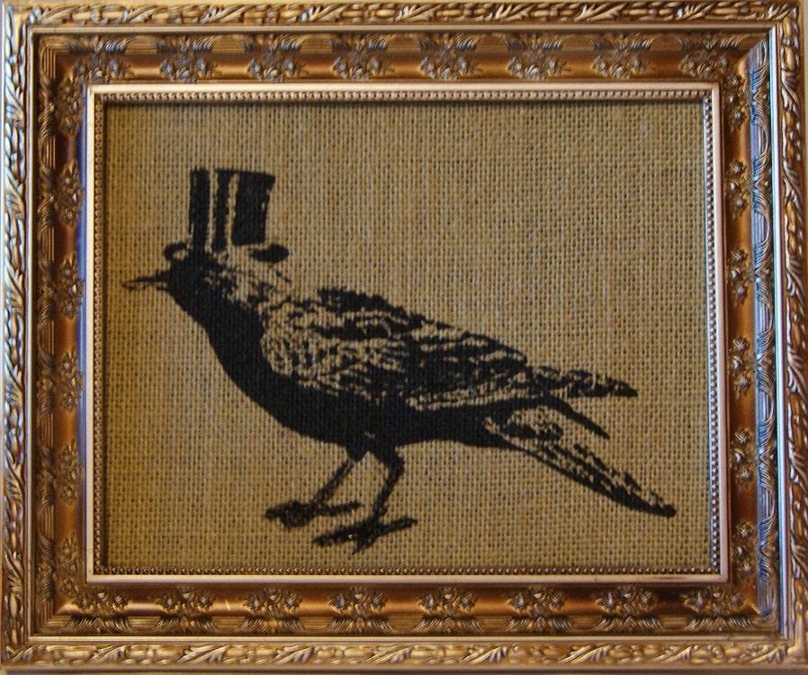 Gothic Top Hat Crow Bird Burlap Screen Print By Samsaraprints