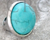 Rustic Natural Silver Turquoise Ring Band Fits 5