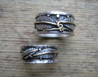 Rustic Wedding Rings--Sterling Silver and Recycled 14kt Gold