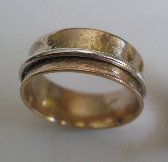 Hammered 14kt Gold Band-Spinner Ring