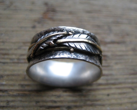 Hammered Silver and Gold Ring with Leaf Design