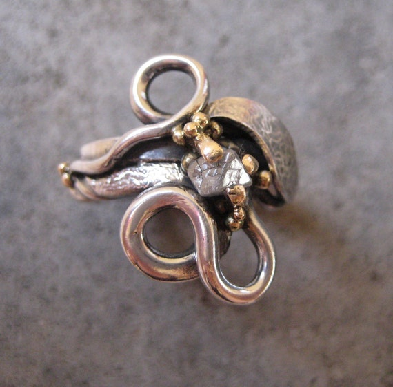 Engagement or Wedding Ring of Silver, 14kt Gold and Conflict Free Rough Diamond