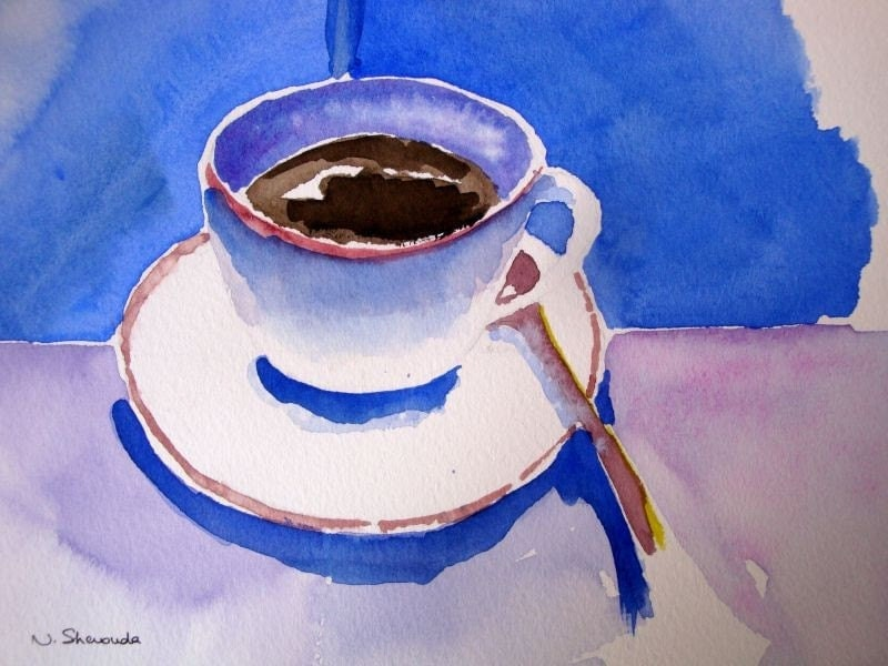 Coffee cup original watercolor painting 10x10inch for Coffee watercolor