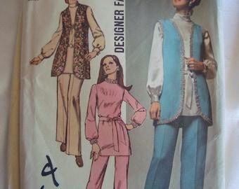 Vintage 1970 Simplicity Womens Pant Suit Pattern