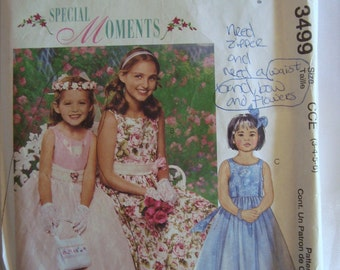 McCalls Special Moments Girls Dress with Petticoat and Headpiece