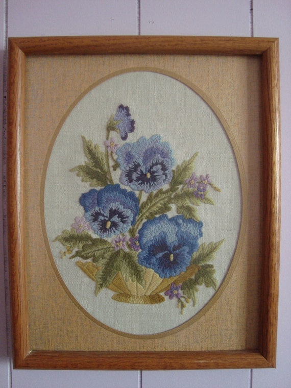 Hand Made Embroidery of Blue Pansies