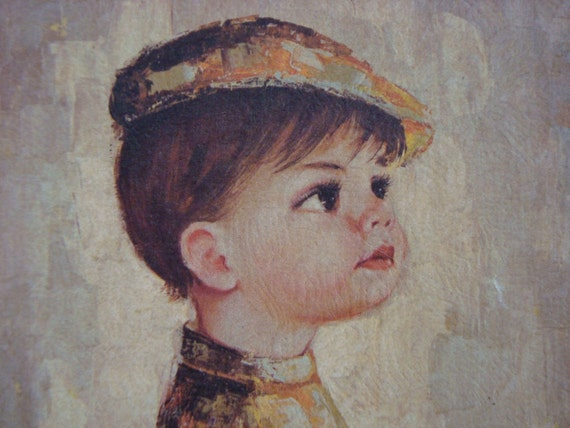 French Wall Hanging of Little Boy and His Dog