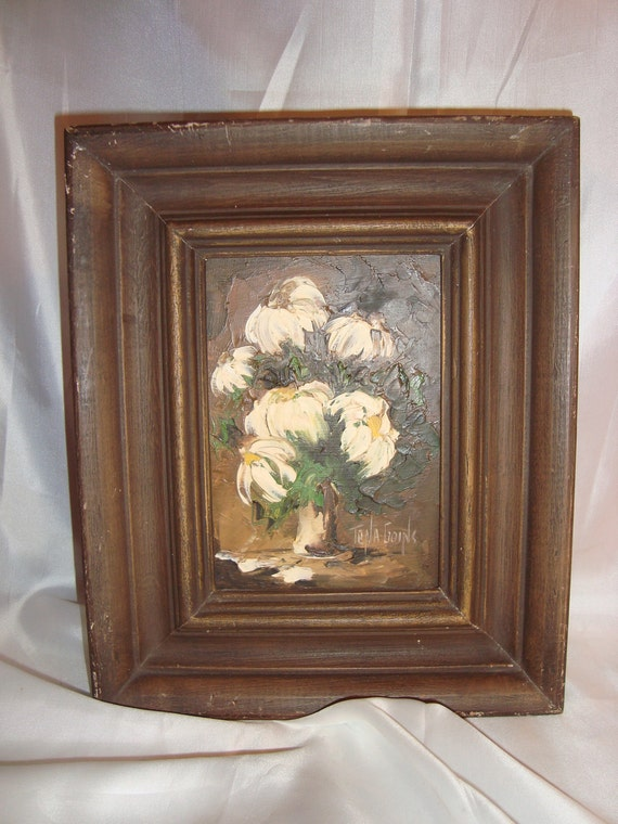 Wall Decor White Flowers : Painting white flowers wall hanging signed art framed