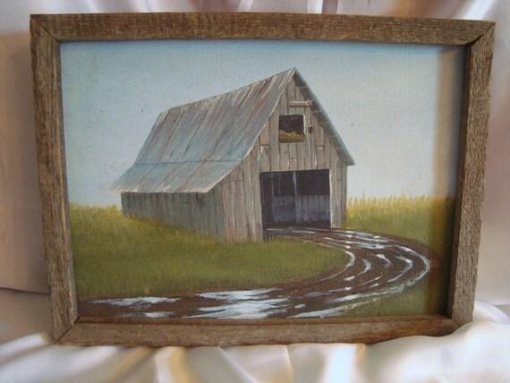 Rustic Painting Wall Hanging Farmhouse Barn TREASURY ITEM