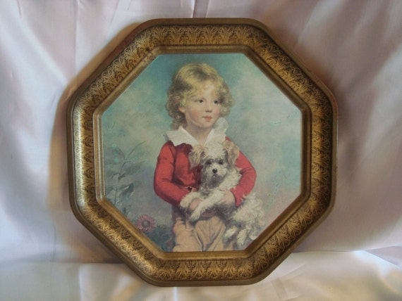 Vintage Wall Hanging Little Boy And His Dog Tin Wall Art
