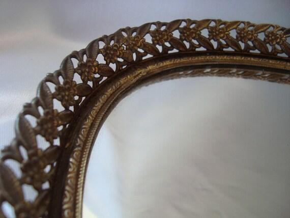 Vanity Tray Mirrored Tray Gold Filigree Tray