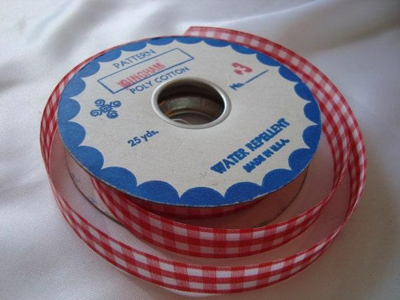 Red Checkered Ribbon Gingham Poly Cotton Ribbon Vintage Ribbon
