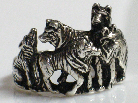 Sterling Silver Ring-Old Vintage OTTO GRUN WOLF Pack 3-d Ring, Signed