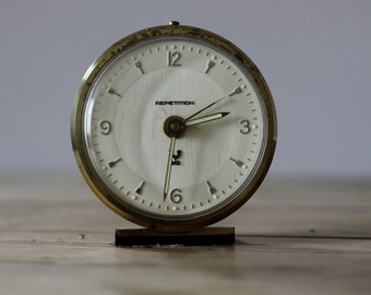 Vintage French Jaz Repetition  Alarm Clock Cream 60's Retro/ Mid Century