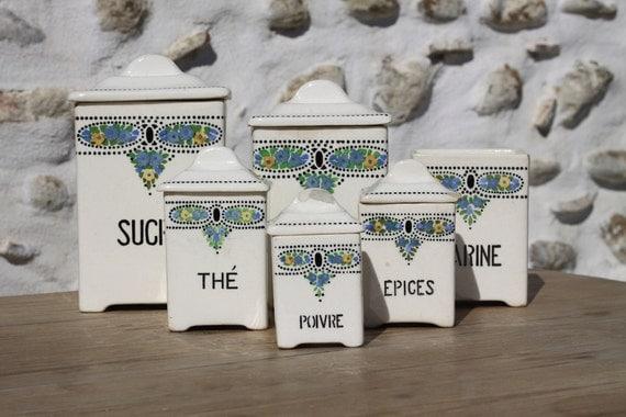 French Canister/Storage Set Creamy White  Vintage Ceramic