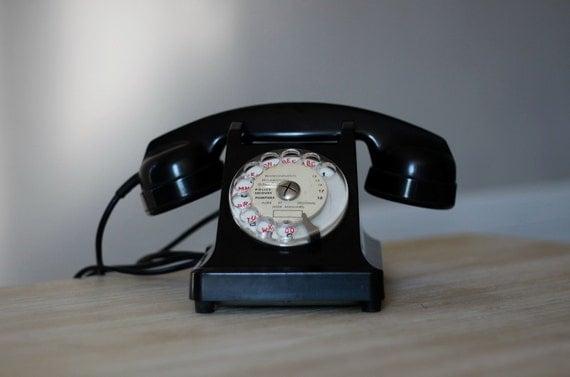 Vintage French Art Deco Telephone Black Bakelite