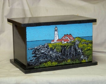 Cremation Urns Granite Hand Etched- Portland Lighthouse