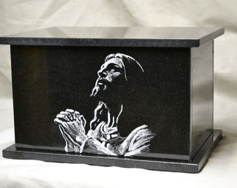 Hand Etched Granite Cremation Urn depicting Our Lord Jesus Christ praying to his father in heaven
