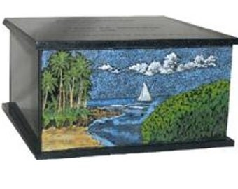 Hand Etched Cremation Urn  Black Granite Hawaiian Scene