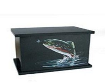 Hand Etched Cremation Urn  Black Granite Rainbow Trout