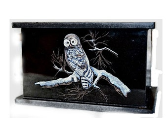 Hand Etched Cremation Urn Black Granite Barred Owl