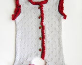 Knitted Baby Romper  - White, 3 - 6 months