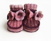 Hand Knitted Baby Booties with Crochet Bell Flowers - Pink and Plum, 12 - 18 months
