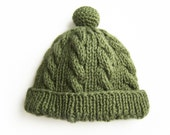 Hand Knitted Baby Hat - Gray Green, 3 - 4 years