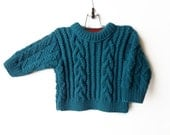 Hand Knitted Baby Sweater - Teal Blue, 9 - 18 months
