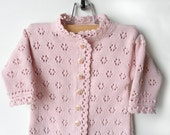 Knitted Baby Romper Suit with Booties - Pale Pink, 3 - 6 months