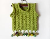 Knitted Baby Vest - Olive Green, 9 - 18 months