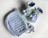 Hand Knitted Set - Baby Booties and Bonnet with Crocheted Edging - Light Blue, 3 - 6 months