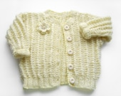 Hand Knitted Baby Cardigan with Crocheted Flower - Pastel Yellow, 2 years