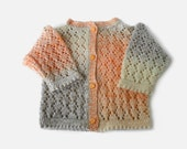 Knitted Baby Cardigan - Multi-Color, 0 - 3 months