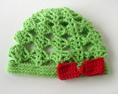 Crocheted Baby Hat - Green with Red Strawberry